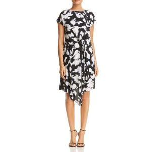 Kenneth Cole Gathered Front Floral Print Dress